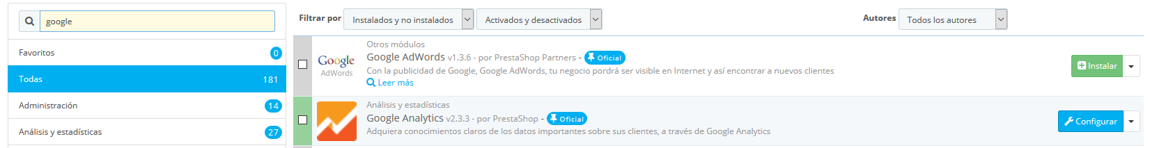 insertar google analytics en prestashop