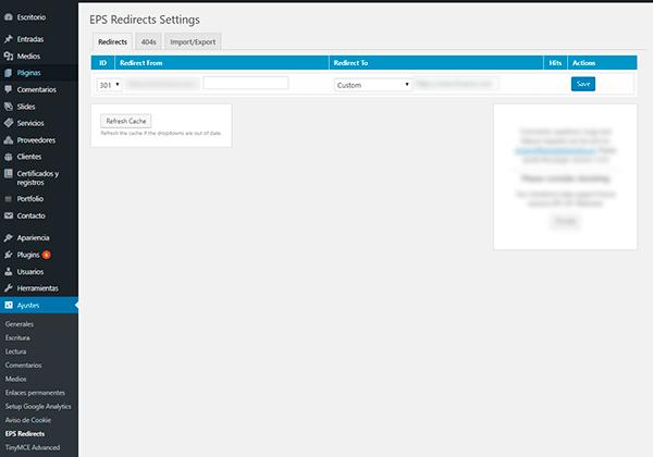 Funcionamiento del plugin de WordPress para redirección 301