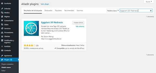 Plugin de WordPress para redirección 301