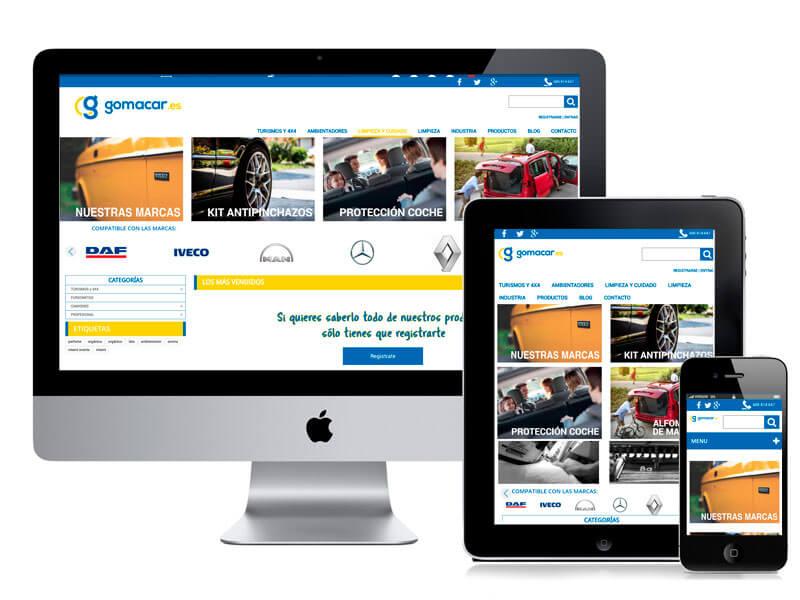 Diseño web tienda Gomacar. digitalDot