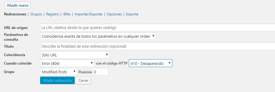 Redireccion 410 plugin WordPress
