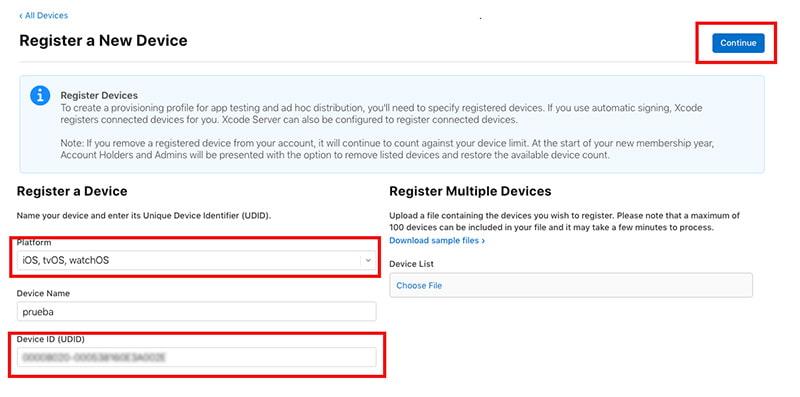 crear perfil apple developer ios