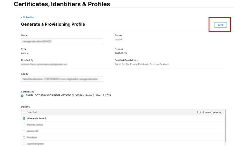 proceso app ios generar permisos udid