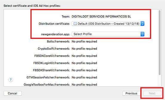 xcode ios seleccion perfil compartir