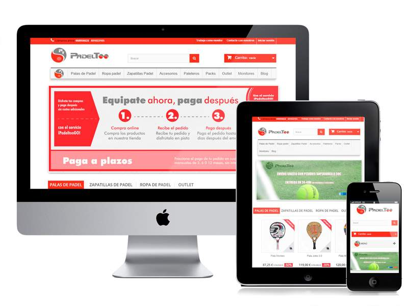 Desarrollo web, SEO y posicionamiento tienda online PadelToo