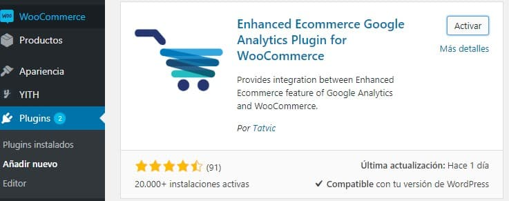 Plugin Enhaced ecommerce Google Analytics