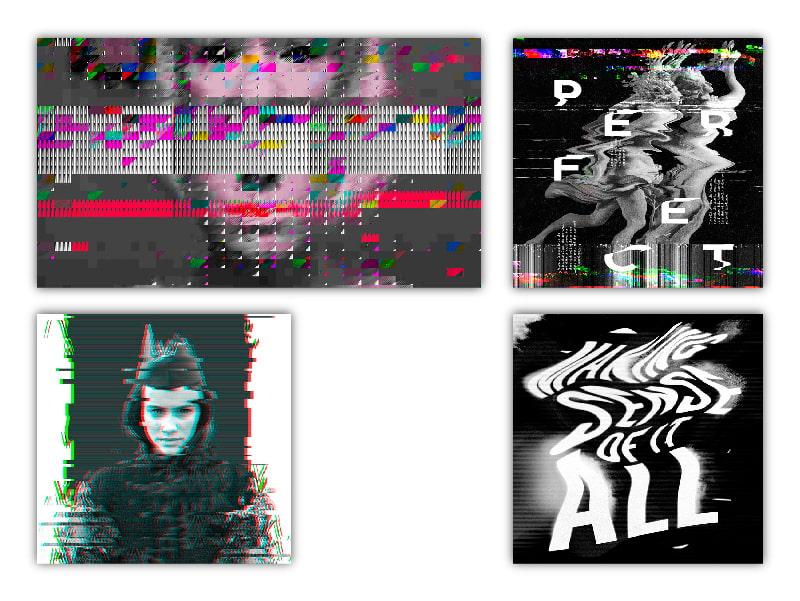 Efecto glitch. Tendencias diseño gráfico 2019