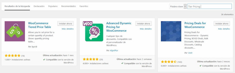 Descargar plugin woocommerce Tiered price table