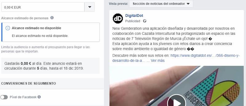 Activar píxel Facebook