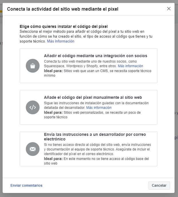 configurar píxel facebook