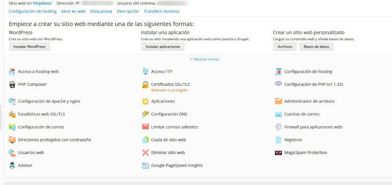 Configuración PLESK. digitalDot