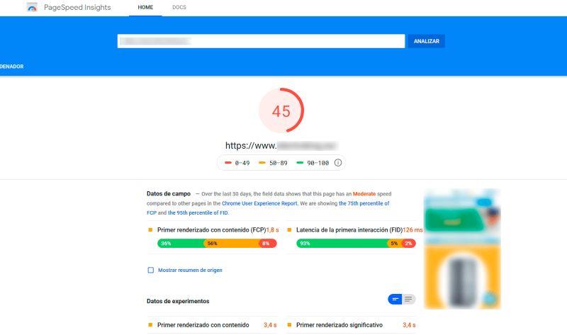 Mejorar velocidad web tienda online