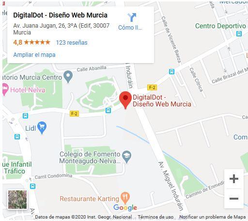 Ubicación de Diseño Web Murcia digitalDot