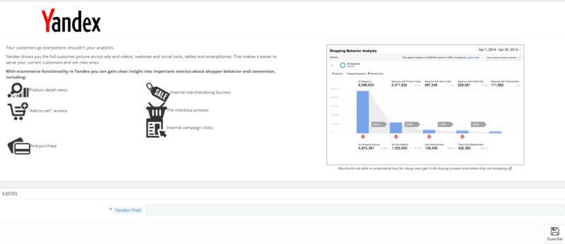 Configurar módulo Yandex para Prestashop