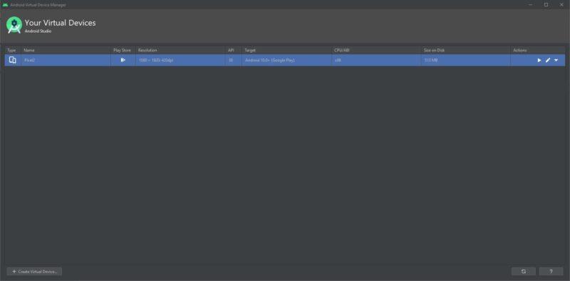 Emulador con Android Studio