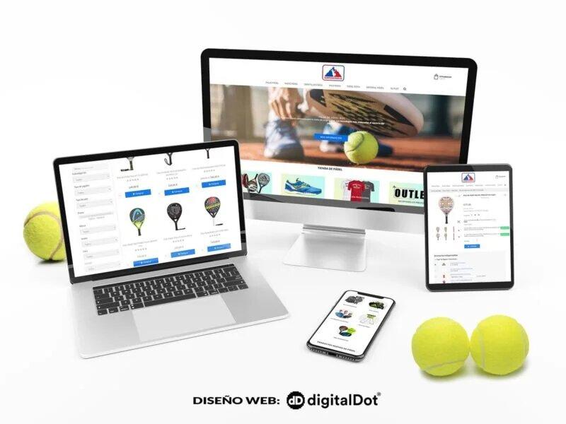 Diseño tienda online Olimpo del Pádel. digitalDot