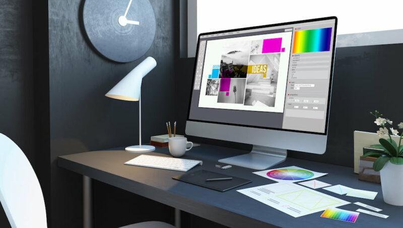 typesetting design workplace mockup interior 3d rendering 1